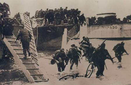 Débarquement du Commando n°4 à Colleville le 6 juin 1944